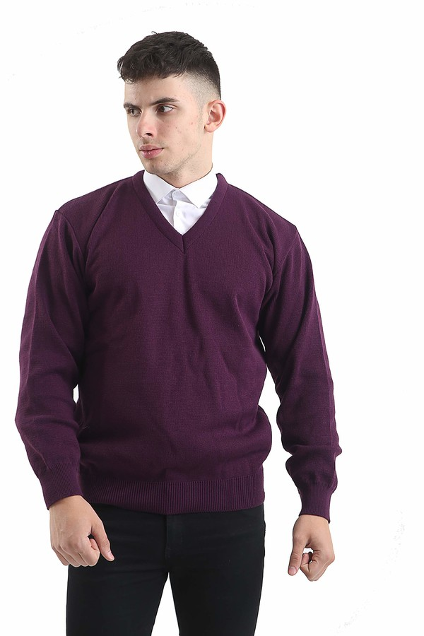 Thumbnail for your product : Brooklyn Clothing Mens V Neck Jumpers Soft Feel Acrylic Classic Fit Sweater Long Sleeve Casual Top (Navy M)