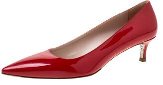 Miu Miu Red Patent Leather Glitter Sole Kitten Heel Pumps Size 37.5