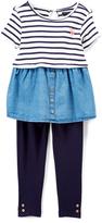 U.S. Polo Assn. Navy & Blue Stripe Top & Leggings - Infant, Toddler & Girls
