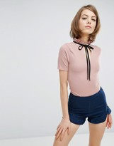 Fashion Union High Neck Body With Frill & Tie Neck