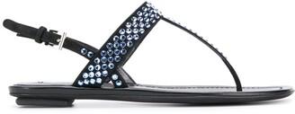 Prada Crystal Embellished Flat Sandals