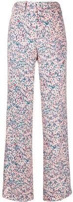 No.21 Daisy Print Wide-Leg Trousers