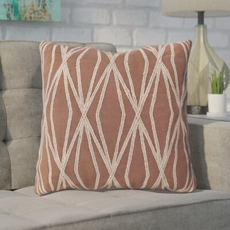 "Brayden Studio Chan 100% Cotton Geometric Throw Pillow Size: 18"" x 18"", Color: Burgundy, Fill Material: Down"