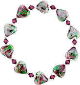 Glass Heart Bridge Jewelry Dazzling Designs Dark Pink & Green Bead Bracelet