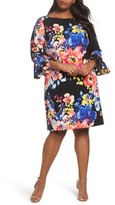 Tahari Plus Size Women's Print Ruffle Sleeve Shift Dress