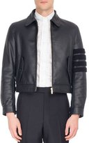 Thom Browne Leather Bomber Jacket with Shearling Stripes
