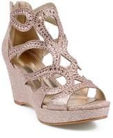 Celeste Hedy Embellished Metallic Wedge Sandal