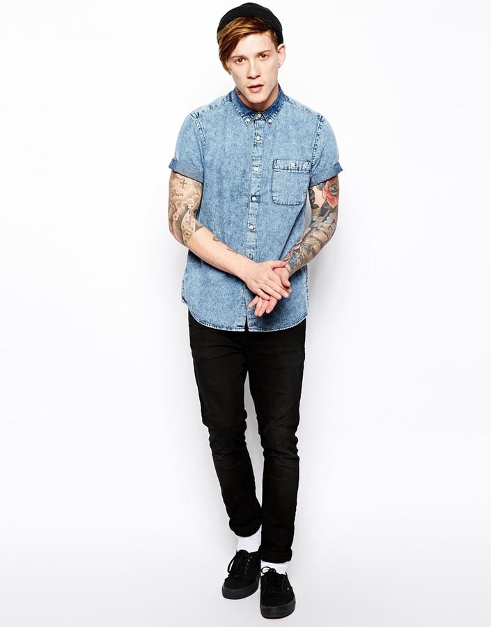 Asos Denim Shirt In Short Sleeve With Acid Wash
