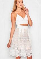 Missy Empire Liana Cream Cut-Out Detail Midi Skirt