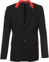 Givenchy contrast collar jacket - men - Calf Leather/Cupro/Wool - 48