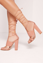 Missguided Tie Ankle Strap Block Heel Blush Pink