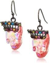Betsey Johnson Halloween Skull with Crown Drop Earrings