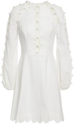 Zimmermann Goldie Cutout Button-embellished Floral-print Linen Mini Dress