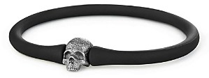 David Yurman Exotic Stone Skull Rubber Bracelet
