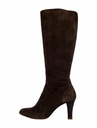 Marc Jacobs Suede Leather Trim Embellishment Boots Brown