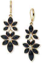 Anne Klein Flower Jet Epoxy Stone Drop Earrings