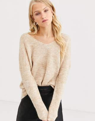 Only brushed rib v neck jumper-Beige