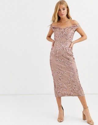 Lipsy off shoulder allover sequin pencil dress in rose gold