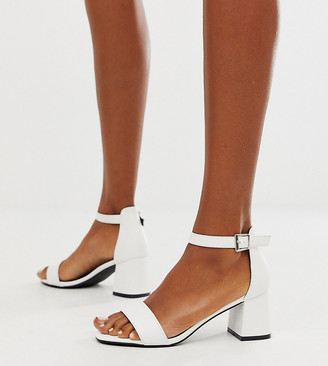 Glamorous Wide Fit white block heeled sandals