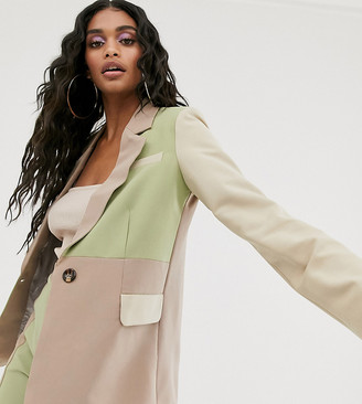 UNIQUE21 relaxed blazer in tonal color block two-piece