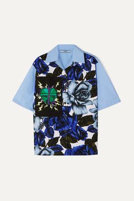 Prada Printed Cotton-poplin Shirt - Blue