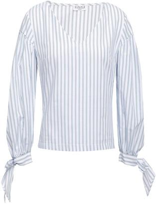 Claudie Pierlot Bay Bow-detailed Striped Cotton-poplin Blouse