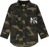 River Island Mini boys khaki camo back print shirt
