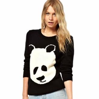 GGsheng_Women Long Sleeve Knitted Sweater Casual Winter Autumn Jumper Tops Cute Panda Pattern Round Neck Pullover Tunic