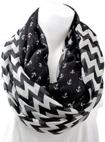 Pop Fashion Women's Thin Chevron Patterned Infinity Scarf w/ Anchors