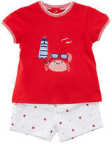 Mayoral Short-Sleeve Crab T-Shirt w/ Matching Shorts, Size 2-12 Months