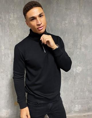 Burton Menswear half zip jumper in black