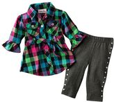 Little lass® plaid top and leggings set