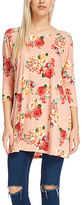 Blush & Red Floral Three-Quarter Sleeve Boatneck Top