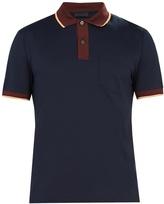 Prada Contrast-collar stretch-cotton polo shirt