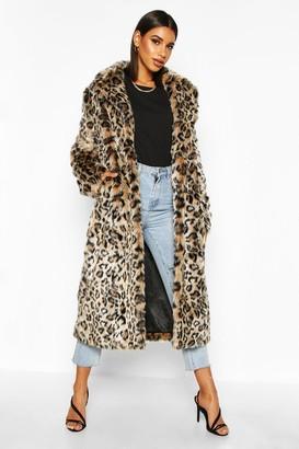boohoo Leopard Faux Fur Longline Coat