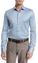 Ermenegildo Zegna Cotton/Silk Long-Sleeve Sport Shirt, Light Blue