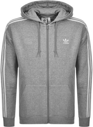 adidas 3 Stripes Full Zip Hoodie Grey