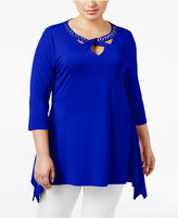 Belldini Plus Size Rhinestone Handkerchief-Hem Top