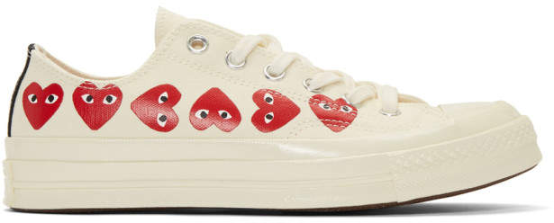 Comme des Garcons Off-White Converse Edition Multiple Hearts Chuck 70 Sneakers
