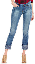 Code Bleu Wildcat Roll-Cuff Embroidered Ankle Jeans