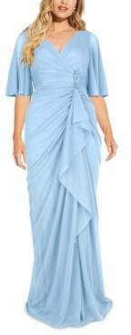 Adrianna Papell Plus Size Embellished Tulle Gown