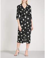 Mo&Co. Floral-print woven wrap dress