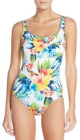 Tommy Bahama Lace-Up Back One-Piece Swimsuit