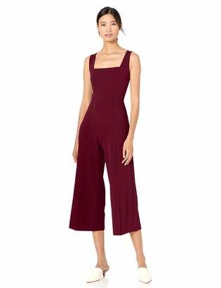 Donna Morgan Women's Square Neck Crepe Sleeveless Cropped Jumpsuit