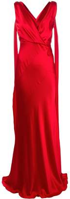 Alberta Ferretti silk V-neck dress