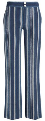 Chloé Striped Cotton-blend Flared Pants