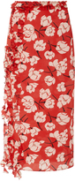 Rochas Ruffle-Trimmed Floral-Print Silk Skirt