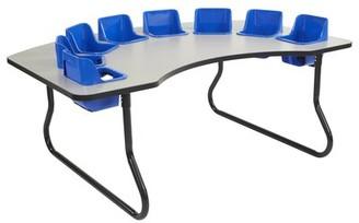 """Factory Interactive Children's 72"""" x 48"""" Novelty Activity Table Direct Partners Tabletop Finish: Gray, Side Finish: Blue/Black"""
