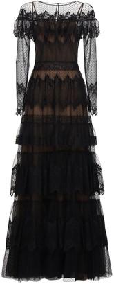 ZUHAIR MURAD Tiered Sheer Lace Long Dress