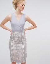Little Mistress Crochet Lace Wrap Front Midi Bodycon Dress